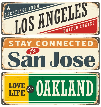 Vintage tin sign collection with USA city names 矢量图像