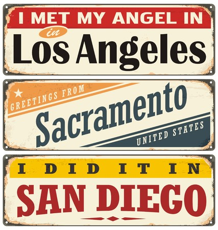 Vintage tin sign collection with USA city names