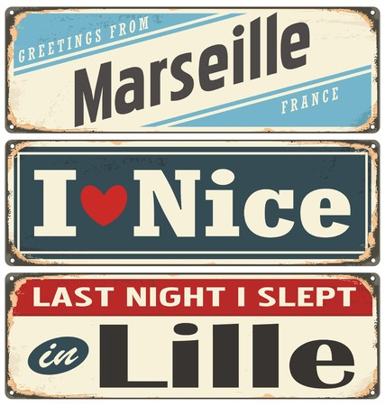 nice france: Retro tin sign collection with French cities