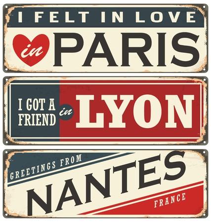 Retro collectie tinnen bord met de Franse steden
