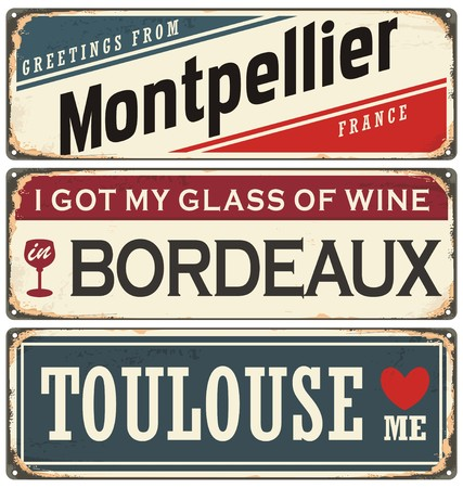 port wine: Retro tin sign collection with French cities