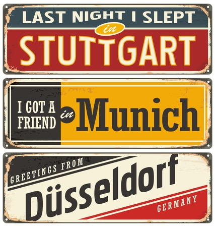 Retro tin sign collection with German cities