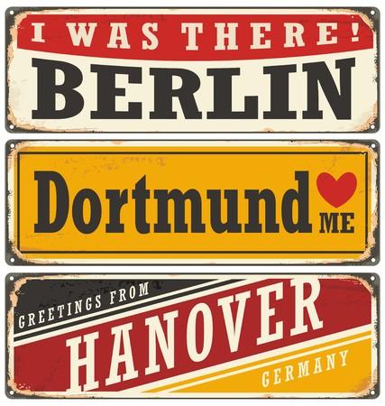 Retro collectie tinnen bord met Duitse steden