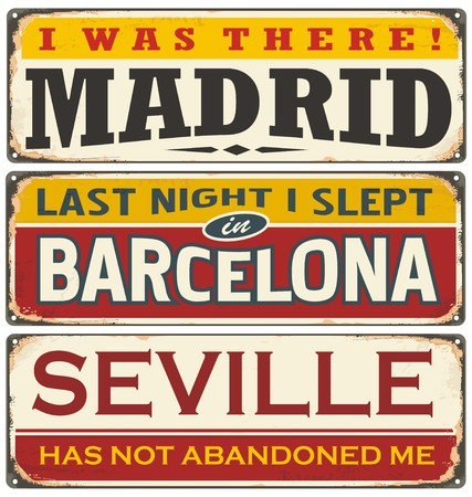 old postcards: Unique retro tin sign collection with cities in Spain