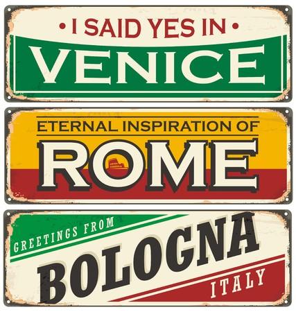 Retro tin teken collectie met steden in Italië Stockfoto - 58462369