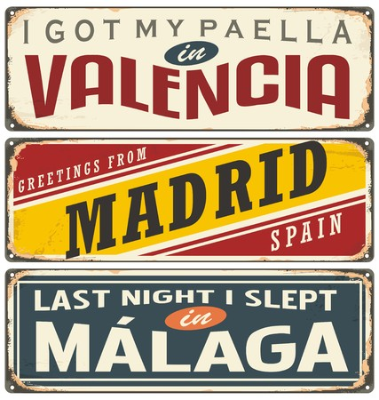 valencia: Unique retro tin sign collection with cities in Spain