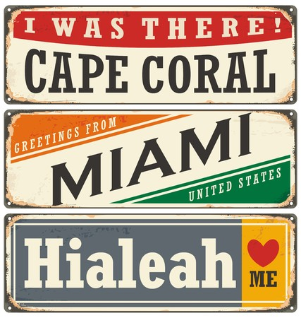 Retro tin signs collection with USA cities