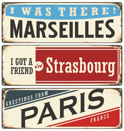 strasbourg: French cities vintage tin signs collection Illustration