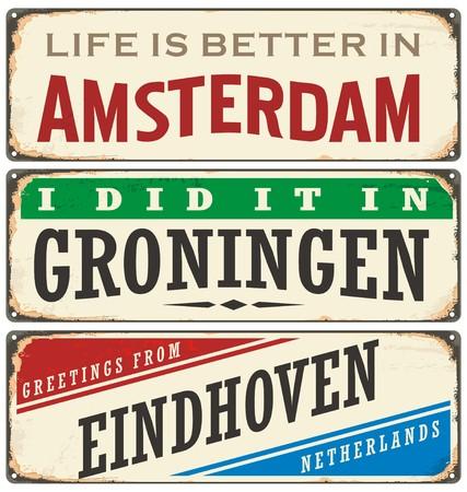 Netherlands cities retro metal signs set
