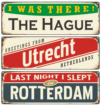 vintage stamp: Retro tin sign collection with Netherlands city names