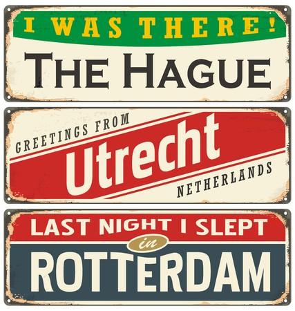 Retro tin teken collectie met Nederland stadsnamen
