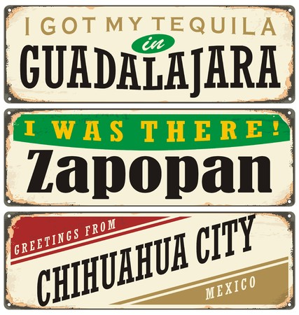 guadalajara: Vintage metal signs collection with Mexico cities