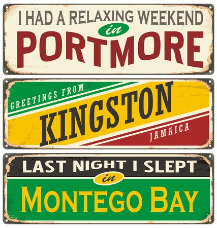 Retro tin sign collection with Jamaica cities 일러스트