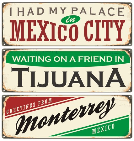 Vintage metal signs collection with Mexico cities