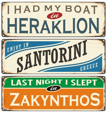 Retro labels with towns in Greece