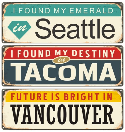 seattle: Vintage metal signs collection with USA cities