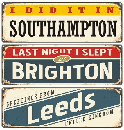 leeds: Cities in England retro tin signs collection