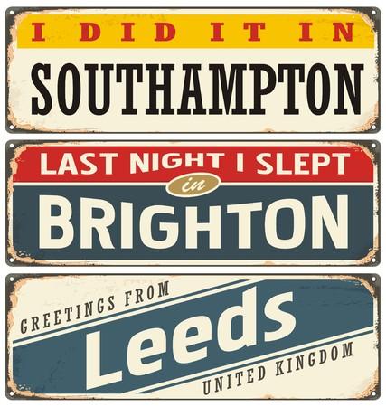 Steden in Engeland retro tin tekenen collectie
