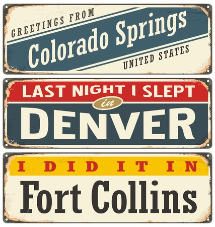 Vintage metal signs collection with USA cities