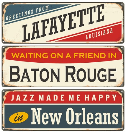 Retro tin sign collection with USA cities in Louisiana