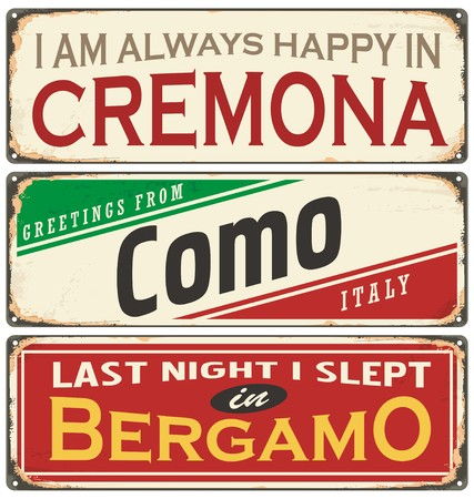lombardy: Vintage vector souvenir sign or postcard templates with cities in Italy