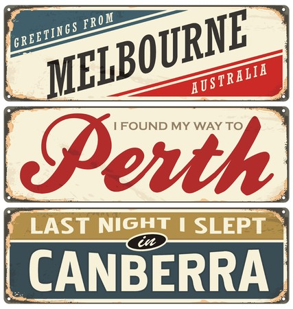 canberra: Vintage metal signs collection with Australian cities