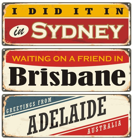 australia stamp: Vintage metal signs collection with Australian cities