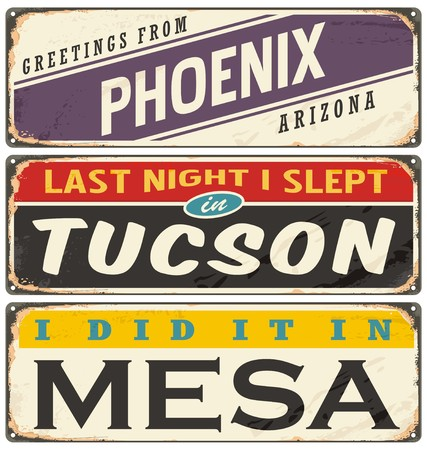 tuscon: Vintage metal signs collection with USA cities