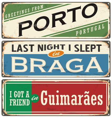 vintage postcard: Vintage souvenir sign or postcard templates with Portugal cities.