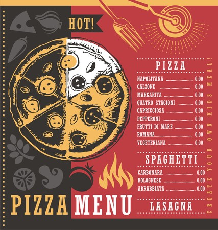 menu design: Restaurant menu design template with hand drawn pizza