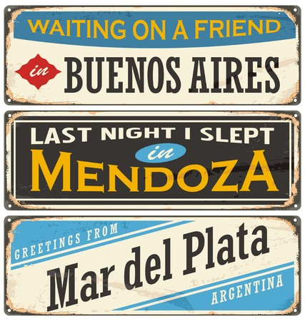buenos: Retro tin sign collection with Argentina cities. Metal plates collection. Illustration