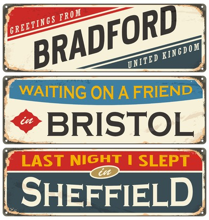 Vintage metal signs collection with UK cities