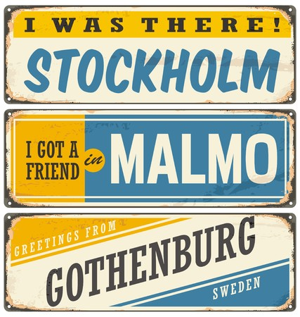 vintage postcard: Vintage souvenir sign or postcard templates with cities in Sweden Illustration