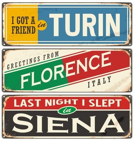 siena italy: Italian cities and travel destinations Illustration