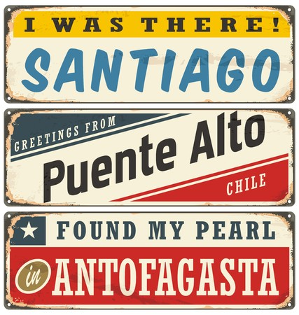 Vintage metal signs collection with Chile cities