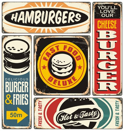 Retro burger signs collection on old damaged background Ilustracja