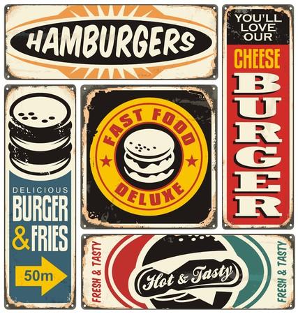 Retro burger signs collection on old damaged background Illustration