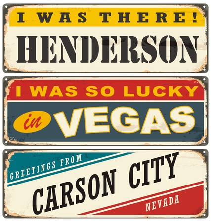 carson city: Vintage metal signs collection with USA cities