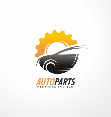 icon design template for auto parts service with car silhouette and gear shape Vectores