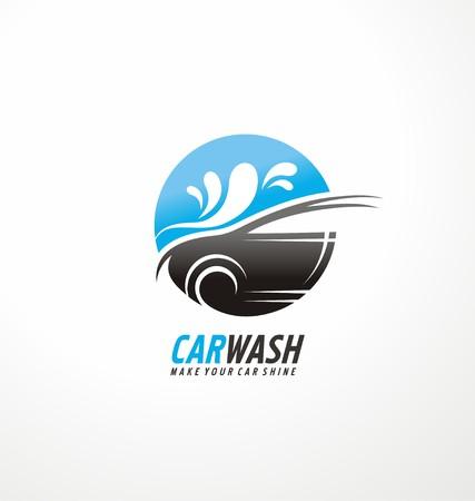 Concept créatif de conception de symbole pour le lavage de voiture et cosmétiques d'auto services Vecteurs