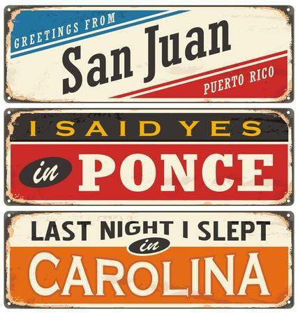 puerto rico: Retro vector illustration with Puerto Rico cities tin signs.
