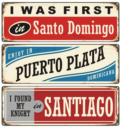 Vintage metal signs and souvenirs collection with cities in Dominican Republic