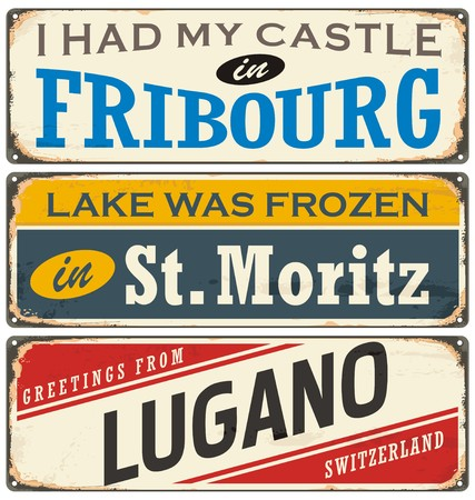 Vintage signs collection with cities and tourist attractions in Switzerland