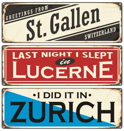 Retro rusty tin sign collection with Switzerland city names on old damaged texture