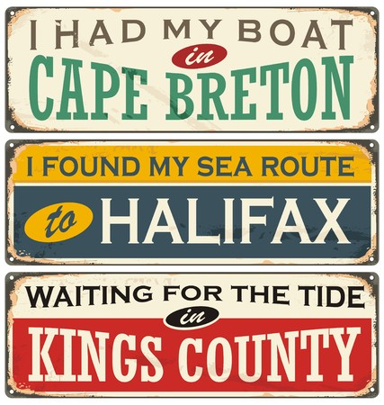canada stamp: Vintage metal signs collection with Canada cities Illustration