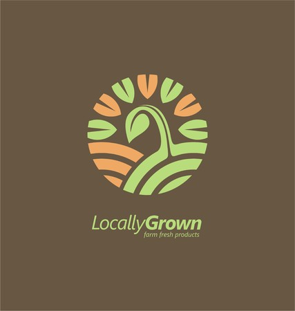crop circles: Locally grown farm fresh product symbol inspiration Illustration