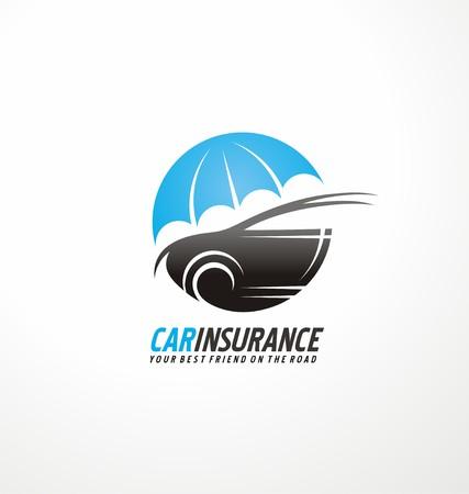 silhouette voiture: L'assurance automobile modèle de conception de l'icône avec la forme de voiture sur fond blanc