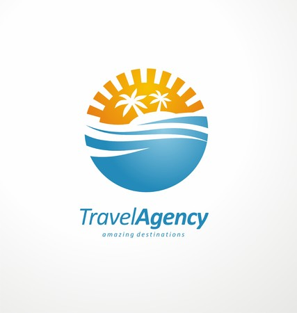 palm trees: Travel agency design layout with sea, sunset and palm trees in negative space on white background Illustration