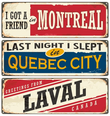 Canada cities vintage metal signs collection Stock Vector - 60884012