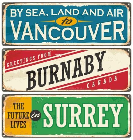 Retro collectie tinnen bord met Canada steden